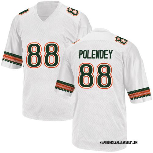 Youth Adidas Brian Polendey Miami Hurricanes Replica White Alternate College Jersey
