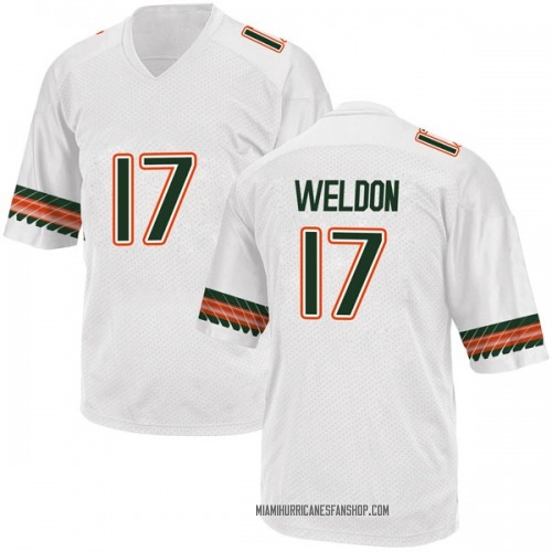 Youth Adidas Cade Weldon Miami Hurricanes Game White Alternate College Jersey
