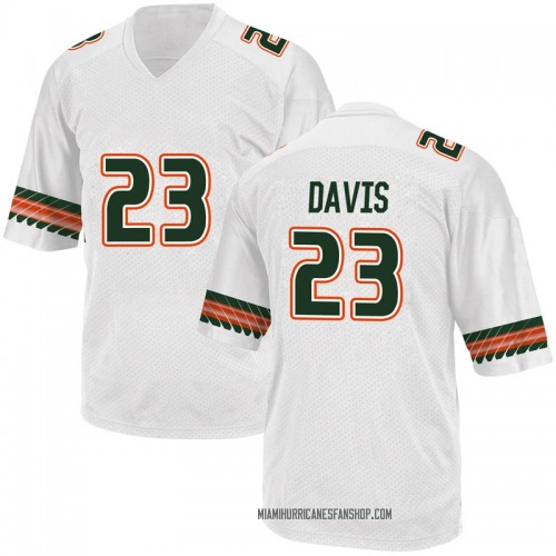 Youth Adidas Cam'Ron Davis Miami Hurricanes Game White Alternate College Jersey