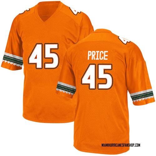 Youth Adidas Camden Price Miami Hurricanes Game Orange Alternate College Jersey