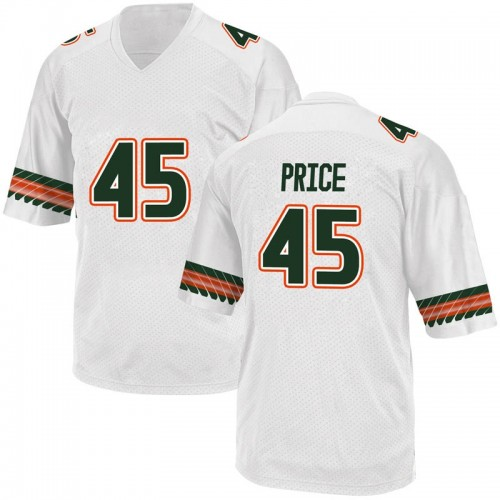 Youth Adidas Camden Price Miami Hurricanes Game White Alternate College Jersey