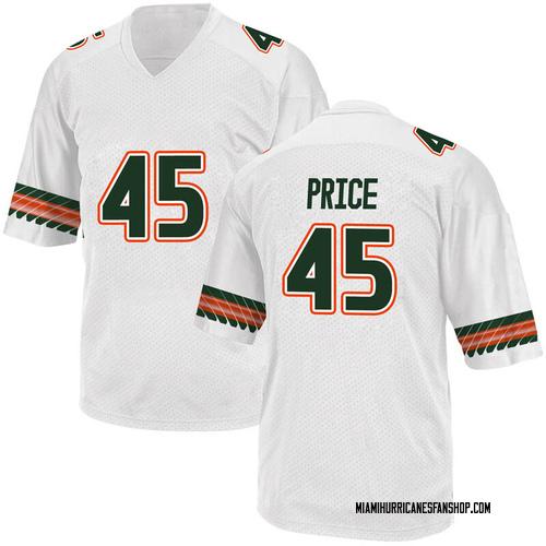 Youth Adidas Camden Price Miami Hurricanes Replica White Alternate College Jersey