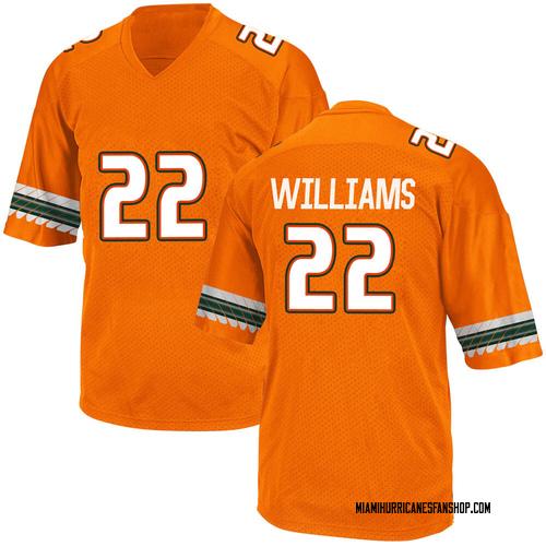Youth Adidas Cameron Williams Miami Hurricanes Game Orange Alternate College Jersey