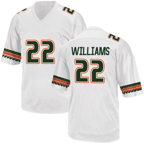 Youth Adidas Cameron Williams Miami Hurricanes Game White Alternate College Jersey
