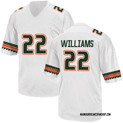Youth Adidas Cameron Williams Miami Hurricanes Replica White Alternate College Jersey