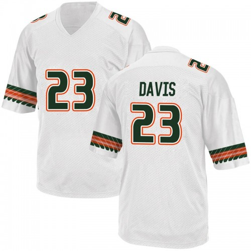 Youth Adidas Camron Davis Miami Hurricanes Game White Alternate College Jersey