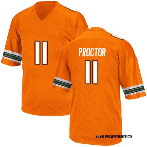 Youth Adidas Carson Proctor Miami Hurricanes Game Orange Alternate College Jersey