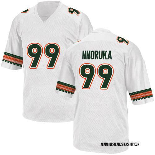 Youth Adidas Chigozie Nnoruka Miami Hurricanes Game White Alternate College Jersey