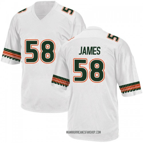 Youth Adidas Clay James Miami Hurricanes Game White Alternate College Jersey