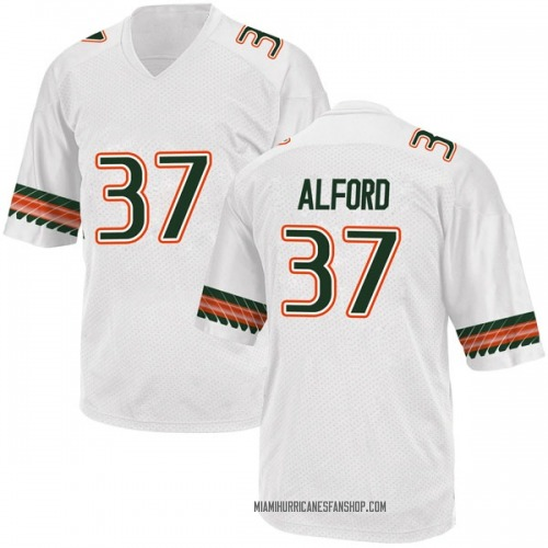 Youth Adidas Colvin Alford Miami Hurricanes Game White Alternate College Jersey