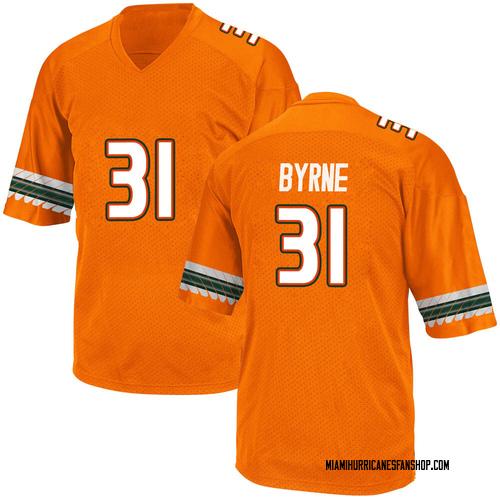 Youth Adidas Connor Byrne Miami Hurricanes Game Orange Alternate College Jersey