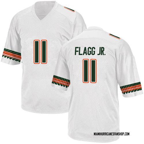 Youth Adidas Corey Flagg Jr. Miami Hurricanes Replica White Alternate College Jersey