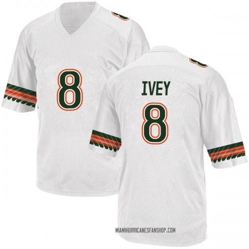 Youth Adidas DJ Ivey Miami Hurricanes Replica White Alternate College Jersey