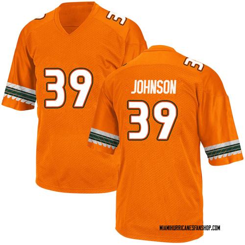 Youth Adidas Dante Johnson Miami Hurricanes Game Orange Alternate College Jersey