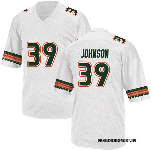 Youth Adidas Dante Johnson Miami Hurricanes Replica White Alternate College Jersey