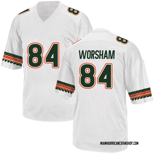 Youth Adidas Dazalin Worsham Miami Hurricanes Game White Alternate College Jersey