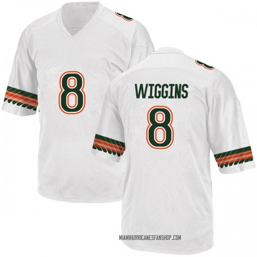 Youth Adidas Dee Wiggins Miami Hurricanes Replica White Alternate College Jersey