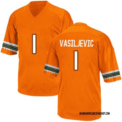 Youth Adidas Dejan Vasiljevic Miami Hurricanes Replica Orange Alternate College Jersey