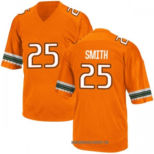 Youth Adidas Derrick Smith Miami Hurricanes Game Orange Alternate College Jersey