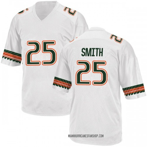 Youth Adidas Derrick Smith Miami Hurricanes Game White Alternate College Jersey