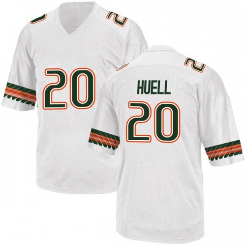 Youth Adidas Dewan Huell Miami Hurricanes Game White Alternate College Jersey