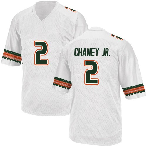 Youth Adidas Donald Chaney Jr. Miami Hurricanes Replica White Alternate College Jersey