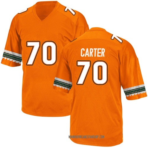 Youth Adidas Earnest Carter Miami Hurricanes Game Orange Alternate College Jersey