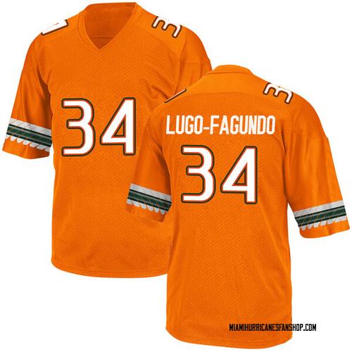 Youth Adidas Elias Lugo-Fagundo Miami Hurricanes Game Orange Alternate College Jersey