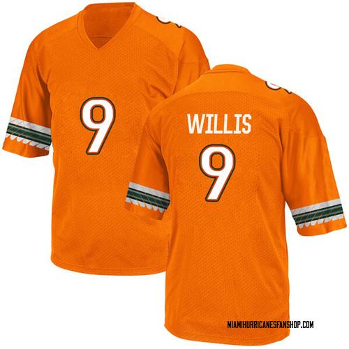 Youth Adidas Gerald Willis III Miami Hurricanes Game Orange Alternate College Jersey