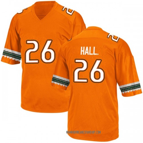 Youth Adidas Gurvan Hall Jr. Miami Hurricanes Game Orange Alternate College Jersey