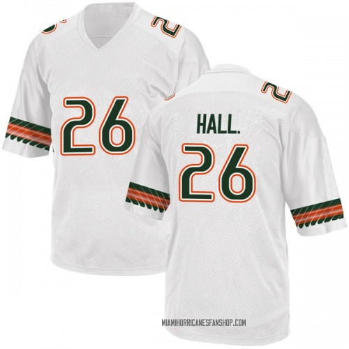 Youth Adidas Gurvan Hall Jr. Miami Hurricanes Game White Alternate College Jersey