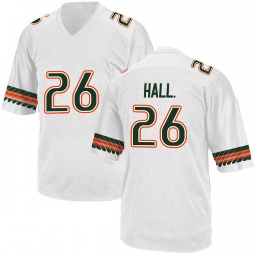 Youth Adidas Gurvan Hall Jr. Miami Hurricanes Replica White Alternate College Jersey