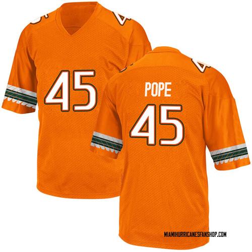 Youth Adidas Jack Pope Miami Hurricanes Game Orange Alternate College Jersey