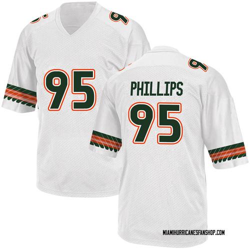 Youth Adidas Jaelan Phillips Miami Hurricanes Game White Alternate College Jersey