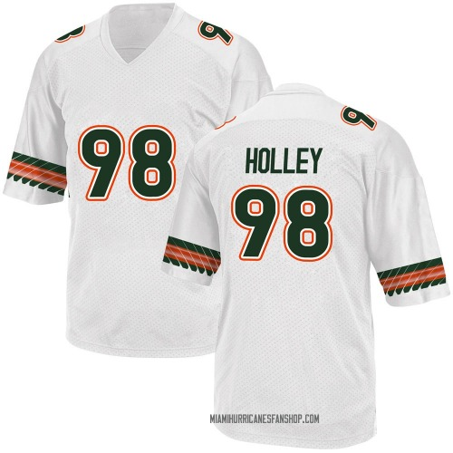 Youth Adidas Jalar Holley Miami Hurricanes Game White Alternate College Jersey