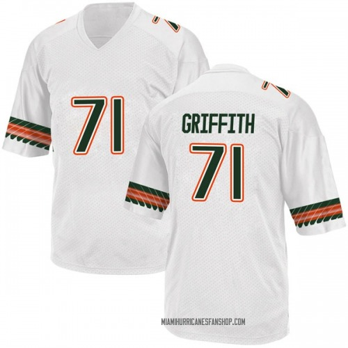 Youth Adidas Jared Griffith Miami Hurricanes Game White Alternate College Jersey