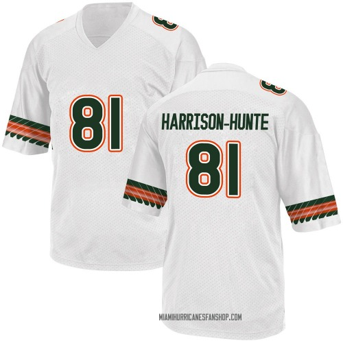 Youth Adidas Jared Harrison-Hunte Miami Hurricanes Game White Alternate College Jersey
