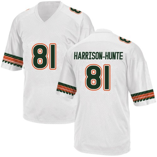 Youth Adidas Jared Harrison-Hunte Miami Hurricanes Replica White Alternate College Jersey