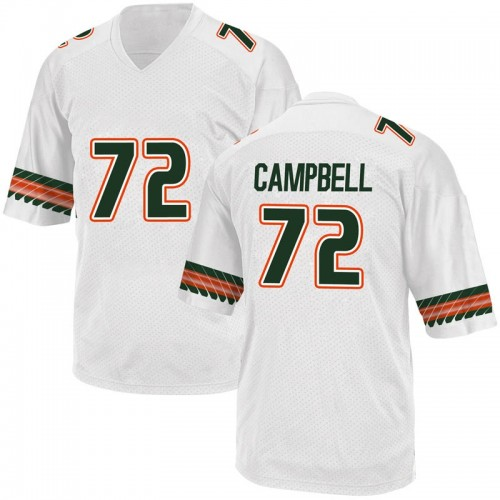 Youth Adidas John Campbell Jr. Miami Hurricanes Game White Alternate College Jersey