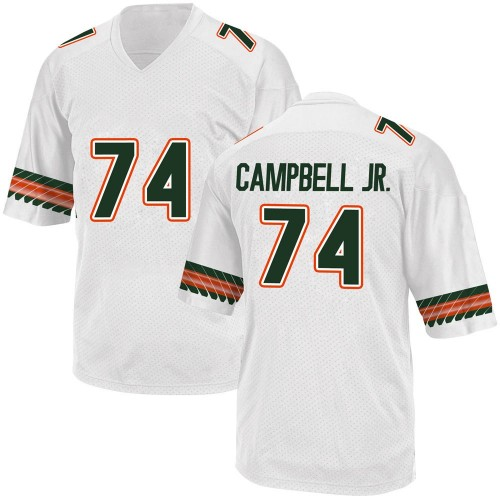 Youth Adidas John Campbell Miami Hurricanes Game White Alternate College Jersey