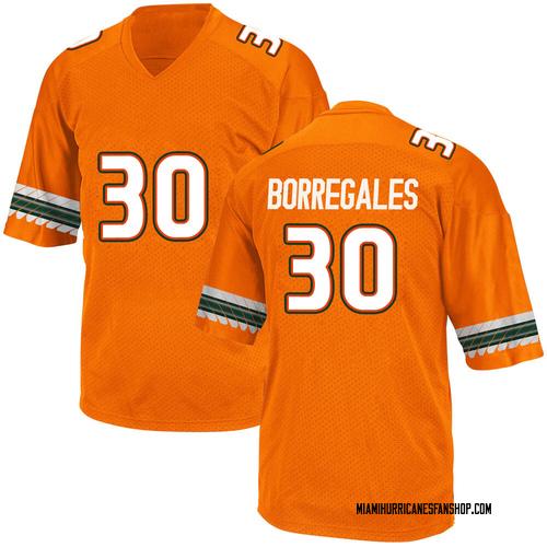 Youth Adidas Jose Borregales Miami Hurricanes Game Orange Alternate College Jersey
