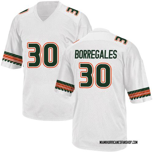 Youth Adidas Jose Borregales Miami Hurricanes Replica White Alternate College Jersey