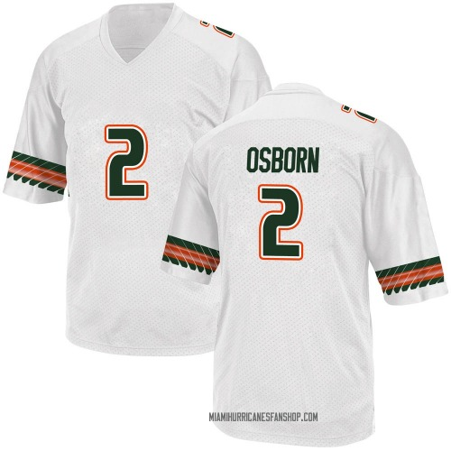 Youth Adidas K.J. Osborn Miami Hurricanes Game White Alternate College Jersey