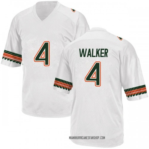 Youth Adidas Lonnie Walker IV Miami Hurricanes Game White Alternate College Jersey