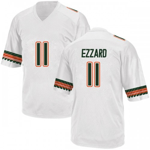Youth Adidas Marquez Ezzard Miami Hurricanes Game White Alternate College Jersey