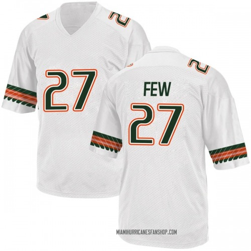 Youth Adidas Marshall Few Miami Hurricanes Game White Alternate College Jersey