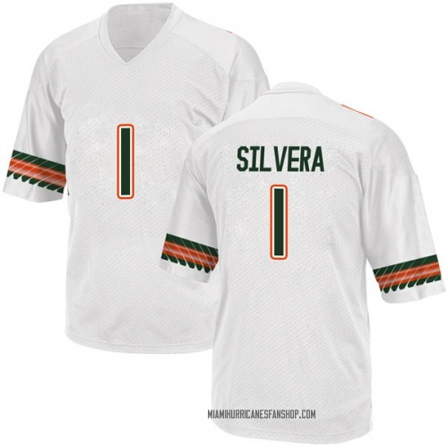 Youth Adidas Nesta Jade Silvera Miami Hurricanes Replica White Alternate College Jersey