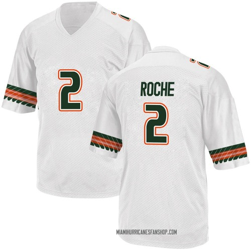 Youth Adidas Quincy Roche Miami Hurricanes Replica White Alternate College Jersey