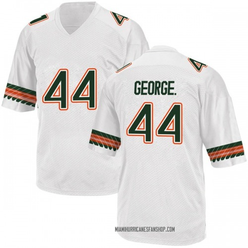Youth Adidas Realus George Jr. Miami Hurricanes Game White Alternate College Jersey