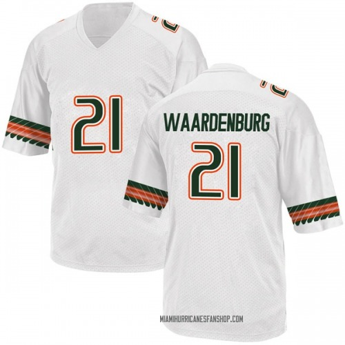 Youth Adidas Sam Waardenburg Miami Hurricanes Game White Alternate College Jersey